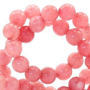 Roze Natuursteen kraal Coral berry rose rond 4mm - 10 stuks
