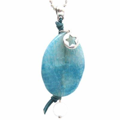 Blauw Edelsteen hanger DIY Aqua crackle