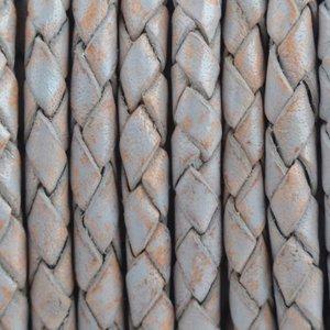 Grijs Rondgevlochten leer Vintage grijs nude 4mm - prijs per 20cm