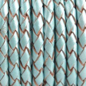 Blauw Rondgevlochten leer Aqua metallic 4mm - prijs per 20cm