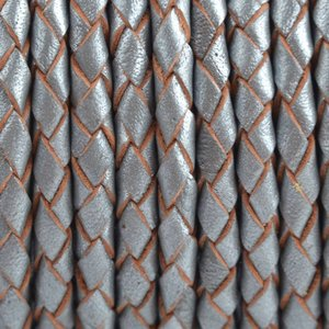 Grijs Rondgevlochten leer Donker grijs metallic 4mm - prijs per 20cm