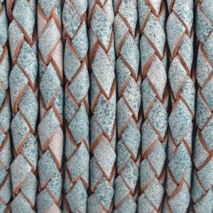 Blauw Rondgevlochten leer Aqua vintage wit 4mm - prijs per 20cm