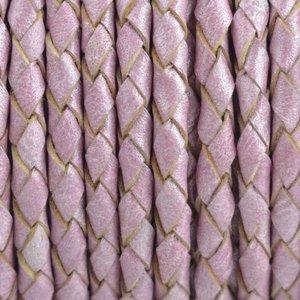 Paars Rondgevlochten leer Lila roze metallic 4mm - prijs per 20cm