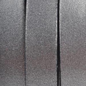 Grijs Plat Italian leer Donker grijs metallic 10x2mm - prijs per cm