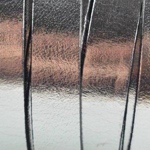 Grijs Plat Italian leer Zilver metallic 10x2mm - prijs per cm