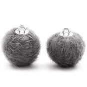 Grijs  Faux fur pompom bedels Dark grey 16mm