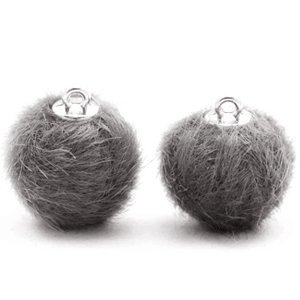 Grijs Faux fur pompom bedels Dark grey 16mm