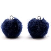 Blauw  Faux fur pompom bedels Dark midnight blue 16mm