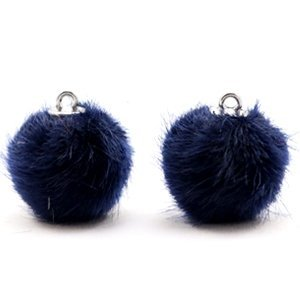 Blauw Faux fur pompom bedels Dark midnight blue 16mm