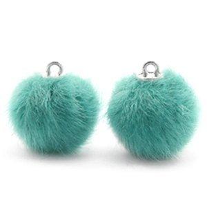 Turquoise Faux fur pompom bedels Blue zircon 16mm