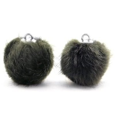 Groen  Faux fur pompom bedels Dark olive green 16mm