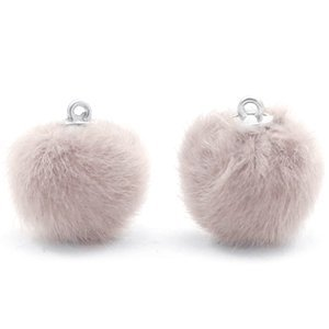 Grijs Faux fur pompom bedels Taupe grey 16mm