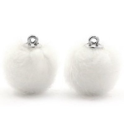 Wit  Faux fur pompom bedels White 16mm