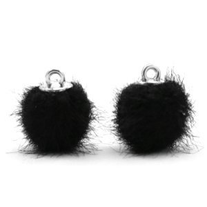 Zwart Faux fur pompom bedels Black 12mm