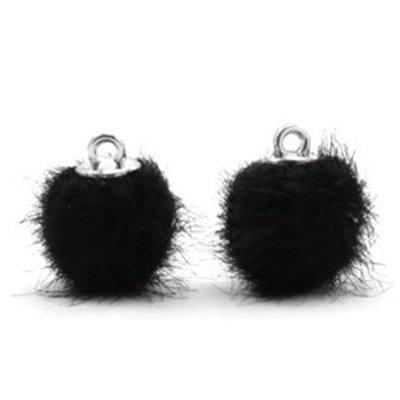 Zwart  Faux fur pompom bedels Black 12mm