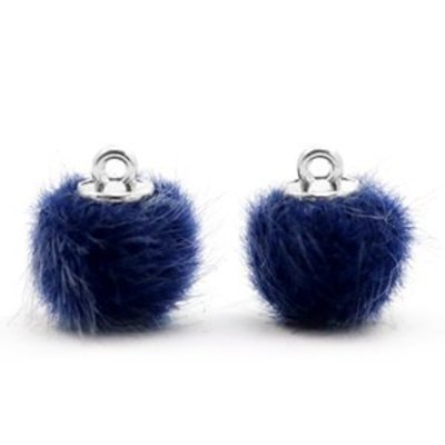 Blauw  Faux fur pompom bedels Dark blue 12mm