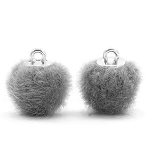 Grijs Faux fur pompom bedels Grey 12mm