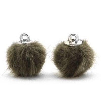 Groen Faux fur pompom bedels Olive green 12mm