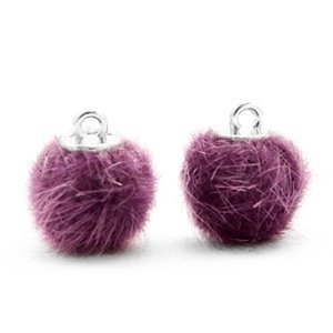 Paars Faux fur pompom bedels Violet purple 12mm