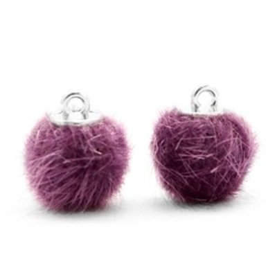 Paars Faux fur pompom bedels Violet purple 12mm