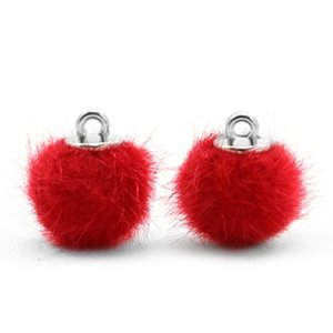 Rood Faux fur pompom bedels Scarlet red 12mm