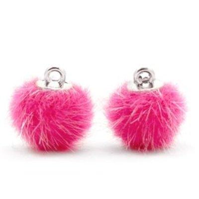 Roze Faux fur pompom bedels Magenta pink 12mm