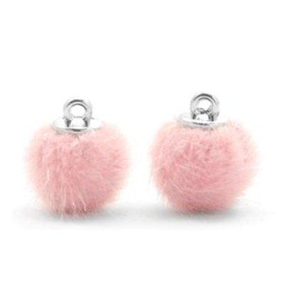 Roze Faux fur pompom bedels Light pink 12mm