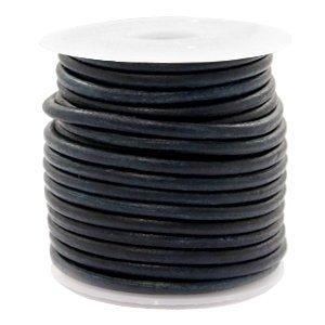 Zwart Rond leer Vintage black 3mm - per meter