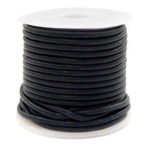 Zwart Rond leer Vintage black 2mm - per meter
