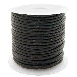 Zwart Rond leer Vintage black 1mm - per meter