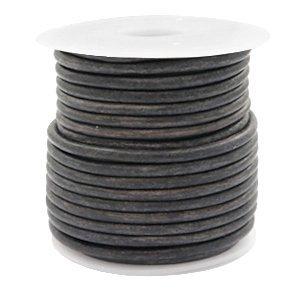 Grijs Rond leer Vintage dark grey 3mm - per meter