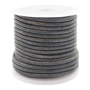 Grijs Rond leer Vintage dark grey 2mm - per meter