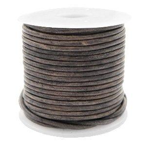 Grijs Rond leer Vintage dark grey 1mm - per meter