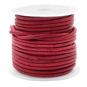 Rood Rond leer Vintage red 3mm - per meter