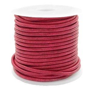 Rood Rond leer Vintage red 2mm - per meter