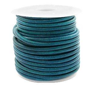 Blauw Rond leer Vintage aqua dazzle blue 3mm - per meter