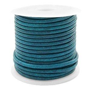 Blauw Rond leer Vintage aqua dazzle blue 2mm - per meter