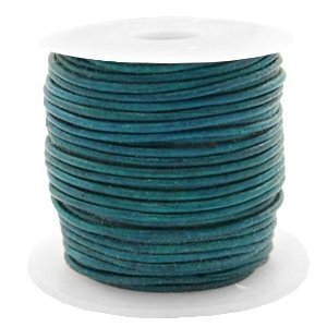 Blauw Rond leer Vintage aqua dazzle blue 1mm - per meter