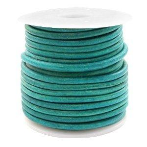Turquoise Rond leer Vintage dark turquoise green 3mm - per meter