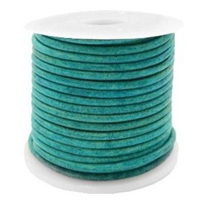 Turquoise Rond leer Vintage dark turquoise green 2mm - per meter