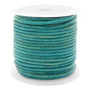 Turquoise Rond leer Vintage dark turquoise green 1mm - per meter