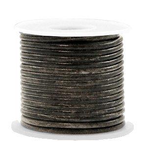 Zwart Rond leer Vintage black metallic 2mm - per meter
