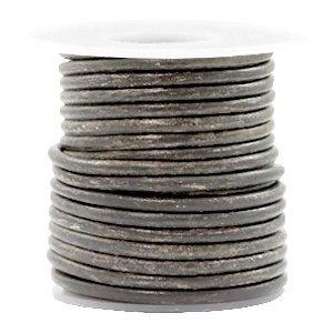 Grijs Rond leer Vintage stormy grey metallic 3mm - per meter