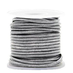 Grijs Rond leer Vintage silver grey metallic 2mm - per meter