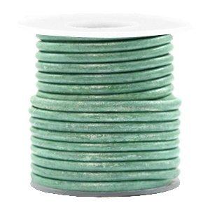Groen Rond leer Vintage lark green metallic 3mm - per meter