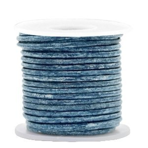 Blauw Rond leer Vintage cool blue metallic 2mm - per meter