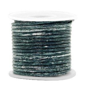 Blauw Rond leer Vintage barberry blue metallic 2mm - per meter