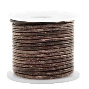 Bruin Rond leer Vintage driftwood brown metallic 2mm - per meter