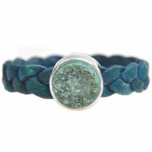 Blauw Ring Gevlochten leer & polaris DIY petrol mint