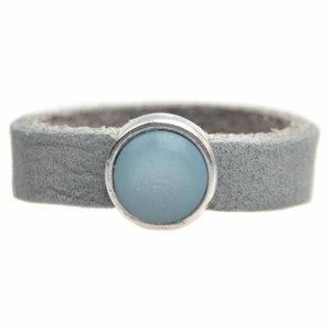 Blauw Ring Plat leer & polaris DIY ice blue